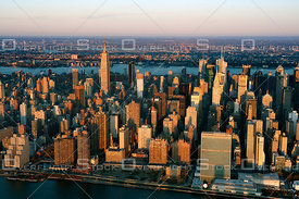 View of Manhattan skyline at dawn