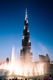 Burj Khalifa fountain show at dusk, Dubai, United Arab Emirates
