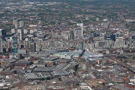 Birmingham wide angle aerial photograph showing the skyline of central Birmingham  with the Bullring retail shopping centre in the foreground and the city in the background