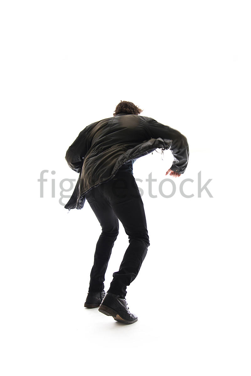 A Figurestock image of a mystery man in a jacket, running – shot from low level.