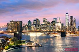Brooklyn bridge and Manhattan skyline, New York, USA