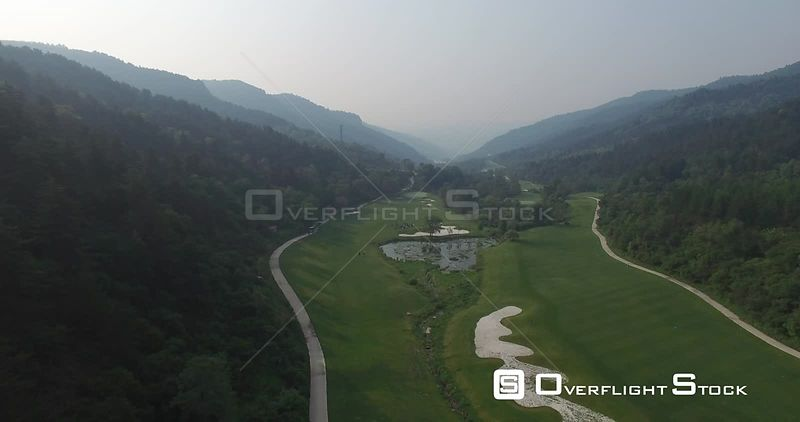 Aerial View of Golf Course Surrounded by Mountains, Shanxi China