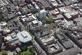 Preston aerial photograph of Preston Town Hall Market Square and the Harris Museum and Art Gallery