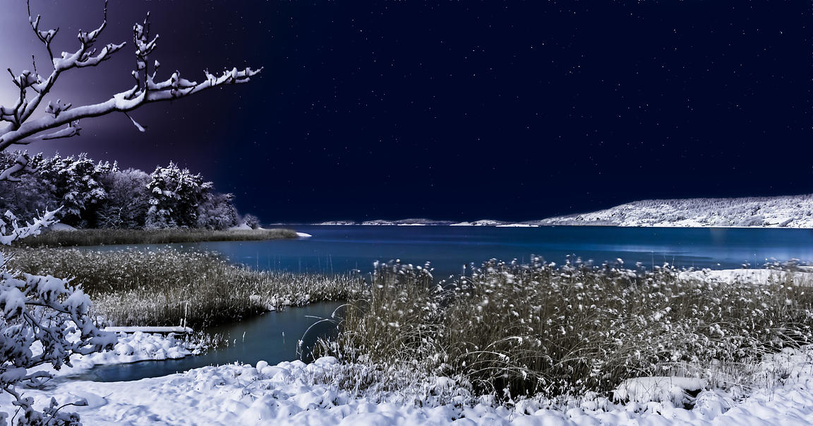 Snowy ocean cove in moonlight