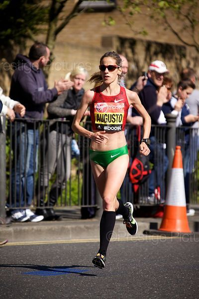 Jessica Augusto (6th) of Portugal Running in the  Elite Womens Event at the 2014 Virgin London Marathon