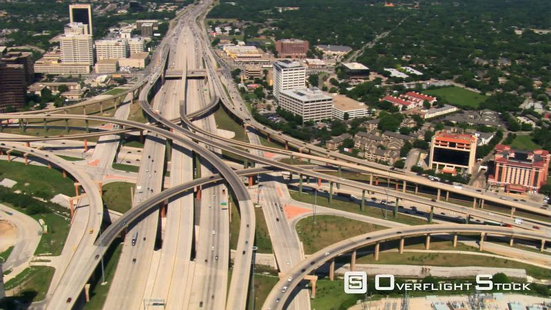 Looking down onto High Five interchange in Dallas, Texas