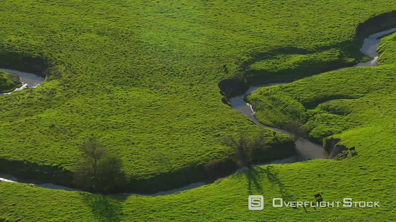 Aerial view of creek running through green farmland, California