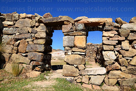 Stone doorways in the Chincana Inca ruins, Sun Island, Lake Titicaca, Bolivia