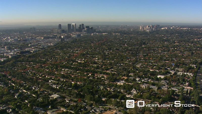 Wide aerial view of Beverly Hills, California.