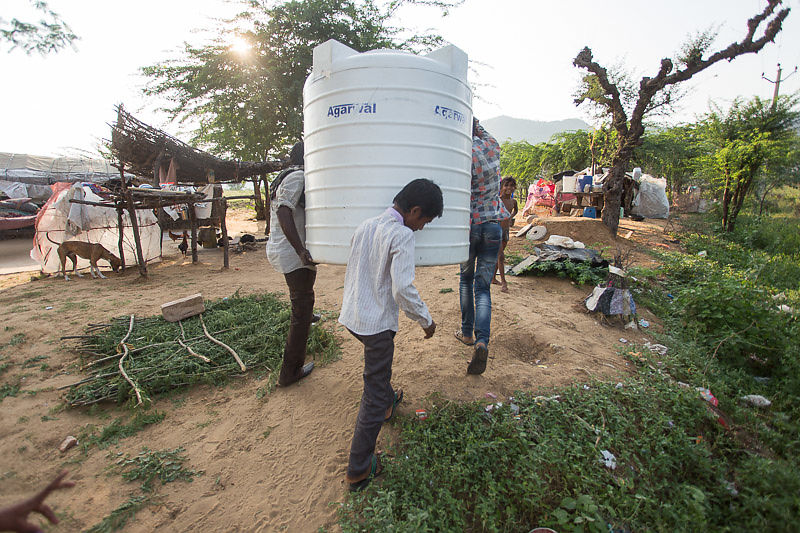 We installed water tanks at all of the Kalbelia camps that we serve