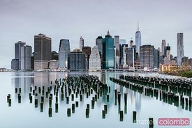 Lower Manhattan skyline reflected, New York city, USA