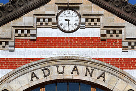 Detail of clock on facade of former customs house, Arica, Region XV, Chile