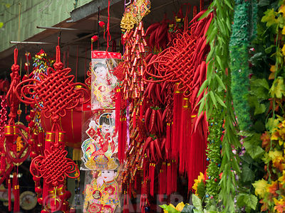 Chinese New Year Decorations in market, close-up