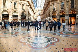Galleria Vittorio Emanuele II full of tourists, Milan, Italy
