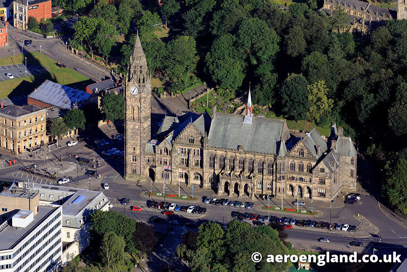 aerial photograph of Rochdale Town Hall  Greater Manchester UK