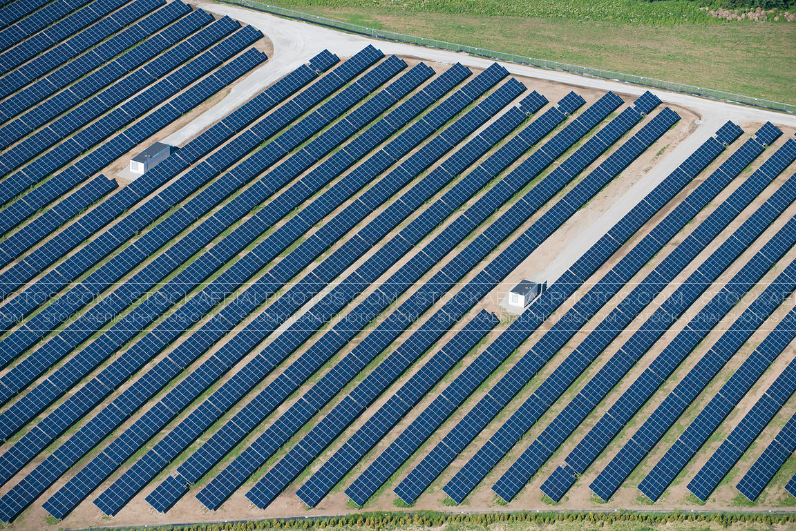 Aerial Photo Large Solar Panel Array