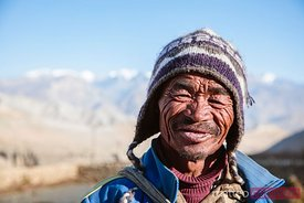 Portrait of a farmer, Upper Mustang region, Nepal