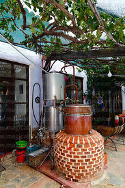Traditional copper still for making singani in the Cepas de mi Abuelo bodega, Villa Abecia, Chuquisaca Department, Bolivia