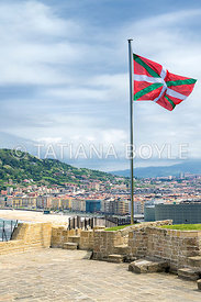 Basque flag and city view