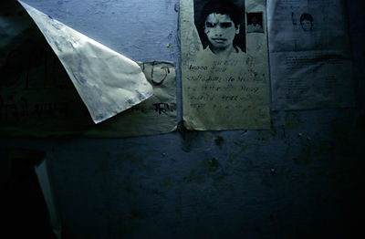 India - Delhi - Poster of a missing boy, night shelter for street children
