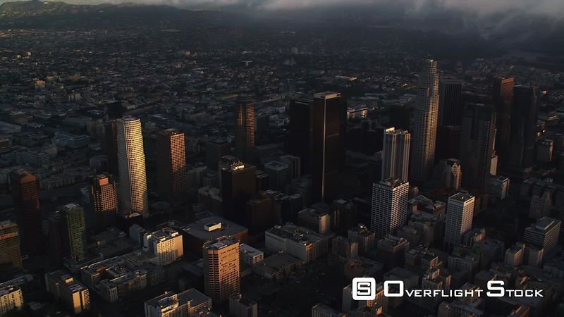 Wide aerial view of Los Angeles, downtown skyscrapers in foreground. Shot in October