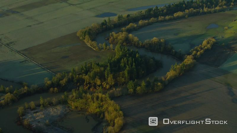 Aerial view of Yamhill River and farm land near McMinnville, Oregon