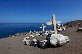 White crosses in remembrance of soldiers who died during the Chilean landing at Pisagua on 2 November 1879 , Region I , Chile