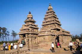 Inde, Tamil Nadu, Mamallapuram (Mahabalipuram), Shore Temple, classé Patrimoine Mondial de l'UNESCO // India, Tamil Nadu, Mamallapuram (Mahabalipuram), Shore Temple, listed as World Heritage by UNESCO