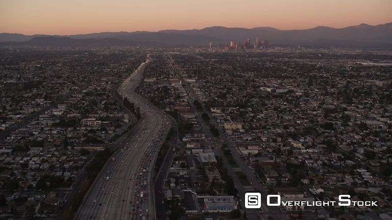 Flying above a major Los Angeles thoroughfare in evening light. Shot in October