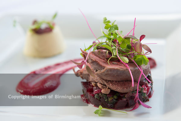 Beetroot and beef plated in a fine dining restaurant