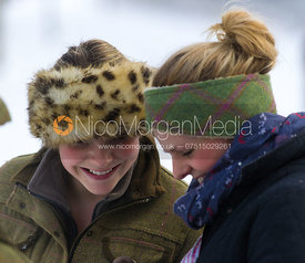 Lara Hellyer and Kelly Morgan - The Belvoir Hunt on foot in Stathern 22/1/13