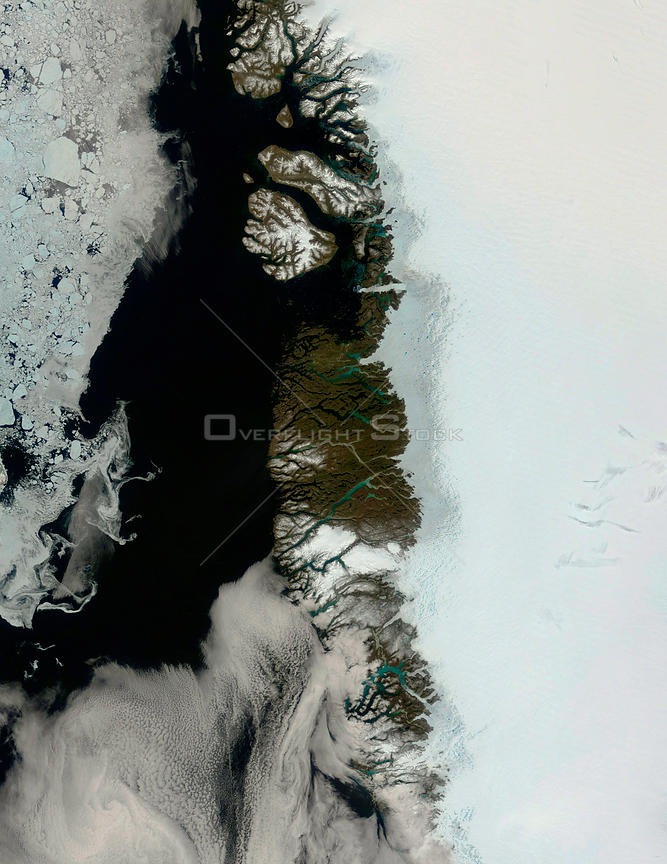 EARTH Greenland Ice Cap -- Jun 2004 -- What might at first be mistaken for a series of images showing the approach of summer on the edge of the Greenland ice sheet