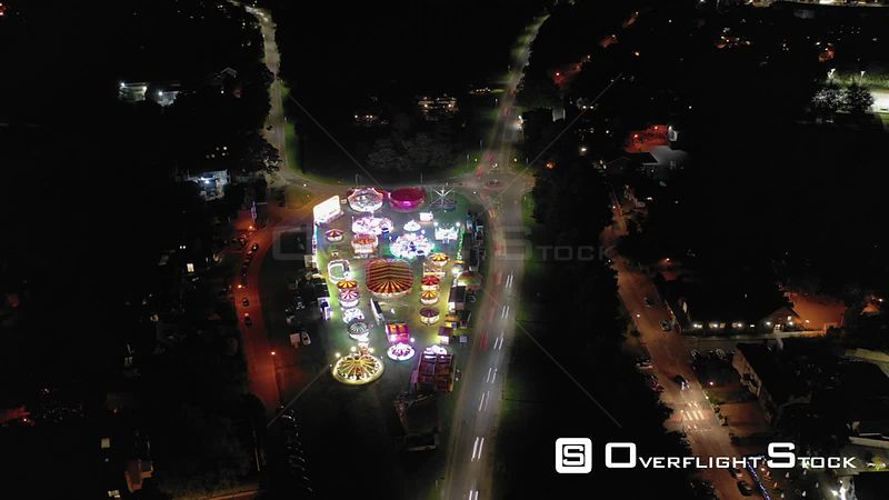 Night Drone Video of a County Fairground