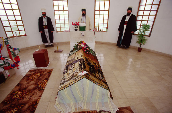 Bektashi Dervishes in the shrine of their orders' house in Tirana, Albania. The Bektashi's are an order of Sufi's, Muslim mystics and were persecuted along with all other religions under the Communist regime