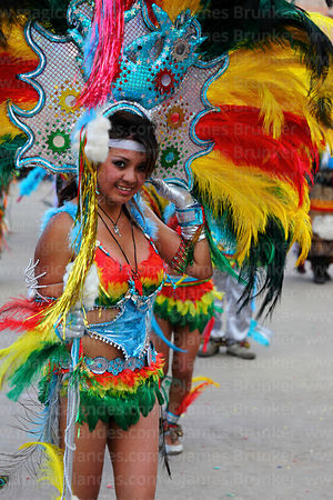 Beautiful girl dancing the tobas, Oruro Carnival, Bolivia