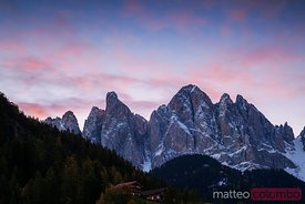 Odle (Geisler) mountain group in the Dolomites at sunrise Italy