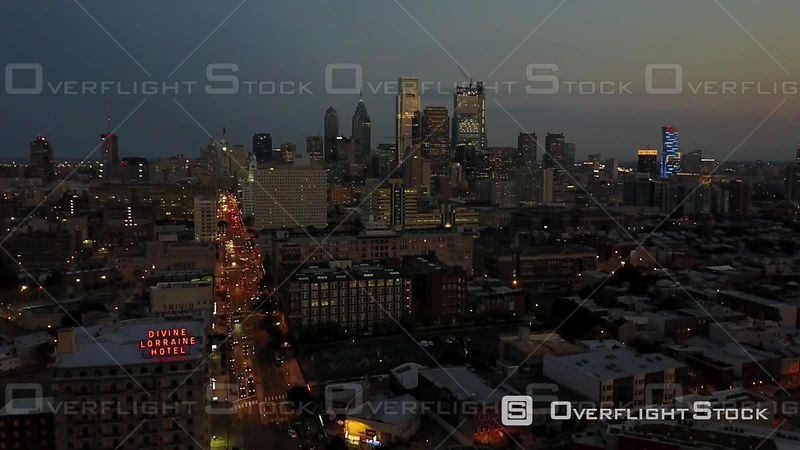 Dusk on Broad Street Drone Video Downtown Cityscape Philadelphia Pennsylvania USA