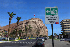 Tsunami evacuation route sign in Spanish and English, El Morro headland in background, Arica, Region XV, Chile