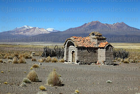 Ruined Rosario chapel at Estancia Huincurata and Cerro Quisi Quisini (R), Sajama National Park, Bolivia