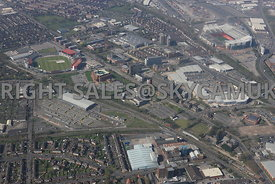Manchester high level view of the Metrolink Trafford depot Old Trafford Cricket Ground Trafford Council Town Hall on Talbot road and the White City Retail Park Chester road