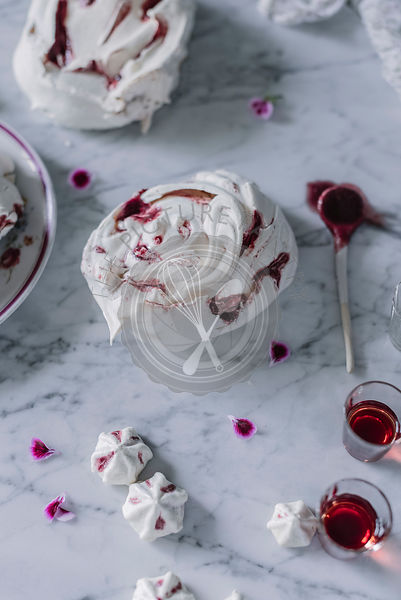 A meringue swirled with jam