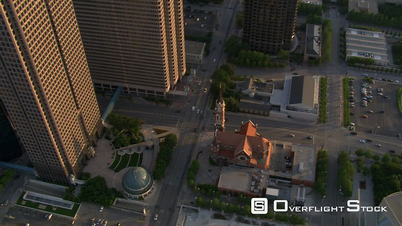 Steep aerial view of Catholic Cathedral of Dallas, Texas