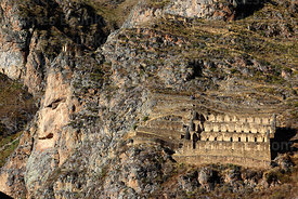 Head of Wiracochan / Tunupa carved into Cerro Pinkuylluna above village of Ollantaytambo, Sacred Valley, Peru