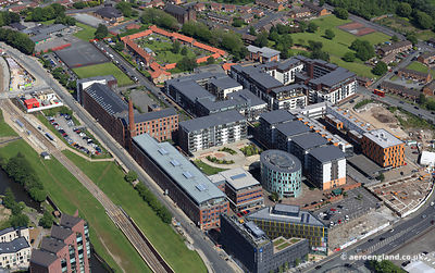 aerial photograph of Issac Way and Pollard St  in  Manchester  England UK.