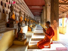Buddhist monk praying, Wat Sisaket temple, Vientiane, Laos