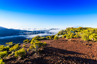 Landscape with cliffs of the volcanic area at Reunion Island