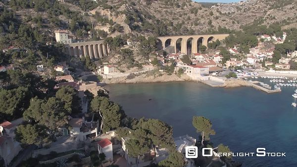 Aerial view of Ensues-la-Redonne port and train station, filmed by drone, Ensues-la-Redonne, France