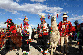 Aymara men with prize winning llamas at rural festival, Orinoca, Bolivia