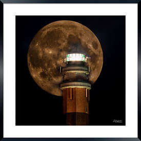Moon and Le Touquet Lighthouse Digital Art