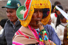 Indigenous musician playing Pinquillo del Anata or Carnival Flute, Coroma, Potosí Department, Bolivia